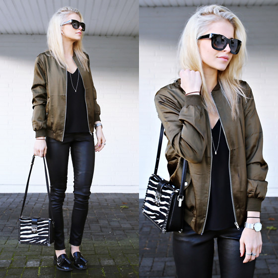 Caro Daur - Asos Jacket, Escada Sunnies, Mcm Bag, Edited Pants - Bomberjacket