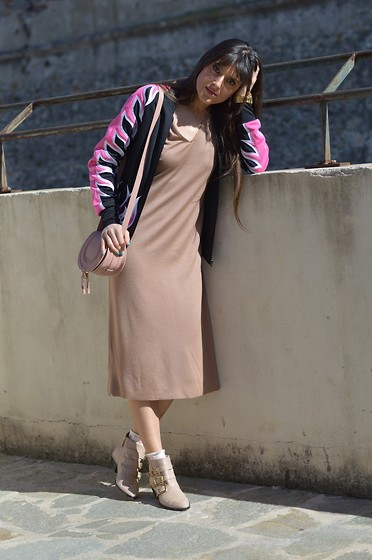 Jeanne -  - Nude Dress and Adidas Bomber