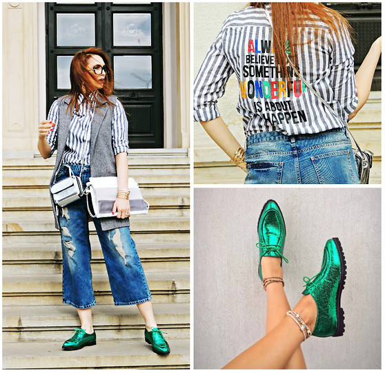 Daniela Macsim - Shein Letters Print Blouse, Pull & Bear Jeans, Shein Vest, Rena Double Bag - #OOTD - The Double Bag