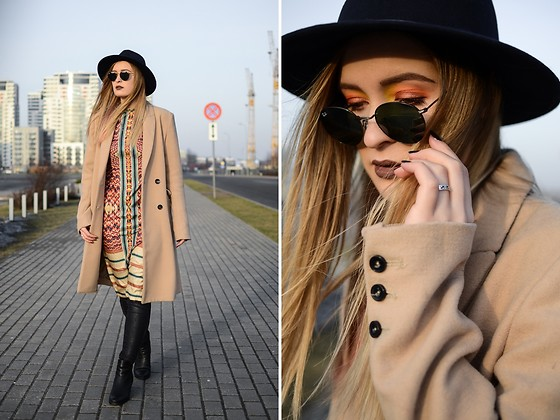 Laura Alksne - Forever 21 Hat, Reserved Coat, H&M Dress, Zara Trousers, Ray Ban Sunglasses, Asos Boots - ON THE MOVE