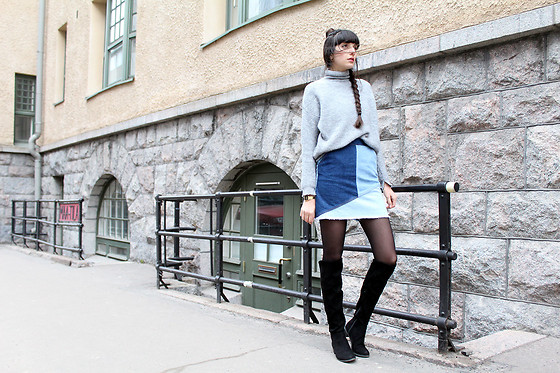 Paz Halabi Rodriguez - Mango Grey Turtle Neck Sweater, Zara Patchwork Denim Skirt, H&M Over The Knee Boots - PATCHWORK SKIRT