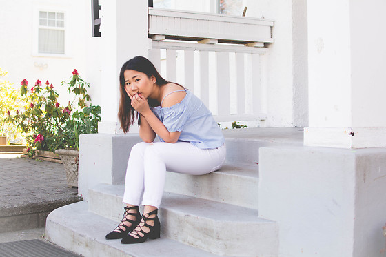 Marissa Hooi - Topshop Lace Up Heels, H&M Top, Old Navy Pants - White Houses