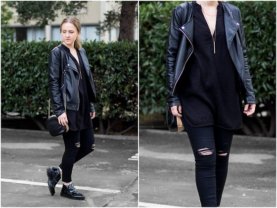Jenaly Enns - Forever 21 Faux Leather Jacket, Community Mcgee Top, Frame Denim Le High Skinny Distressed Jeans, Olivia & Joy Double Pouch Bag, Zara Faux Patent Leather Shoes - Everyone needs black in their wardrobe