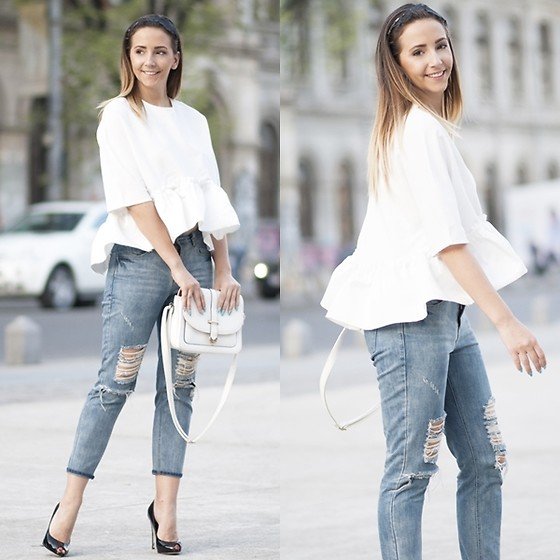 Manuella Lupascu - Romwe Ruffle Blouse, Shopbop Bag, Shopbop Ripped Jeans, Giuseppe Zanotti Pumps - White and Denim