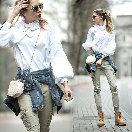 Dora D. - Pussy Bow White Blouse, Denim Jacket, Skinny Cargo Pants, Timberland Boots - Don't be afraid of being different