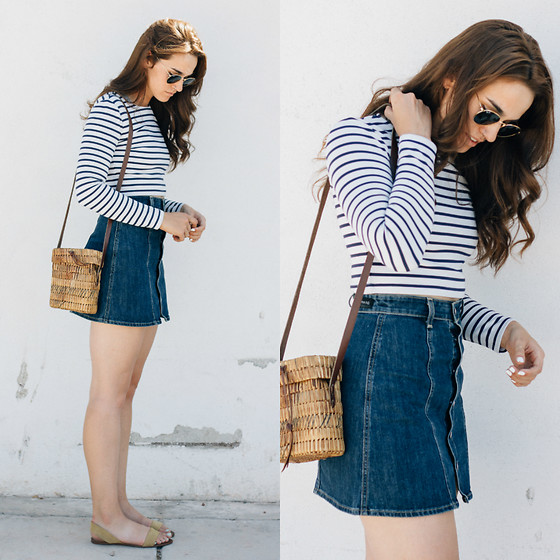 Tonya S. - Ivyrevel Stripe Top, Vintage Basket Bag, Ag Jeans A Line Denim Skirt - Ivyrevel