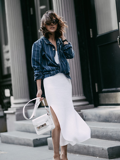 Diana Z Wang - Bethnals Denim Jacket, Brochu Walker Knit Dress, Proenza Schouler Bag, Illesteva Sunglasses - Sporty Chic