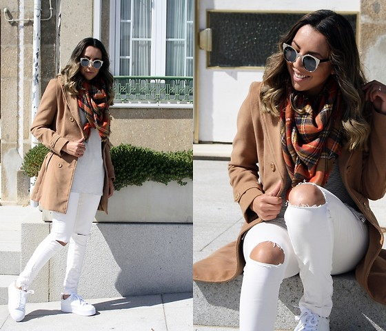 Cá Cavalcant - Camel Coat, White Pants, Sunglasses, Scarf, T Shirt - All white with a touch of colors.