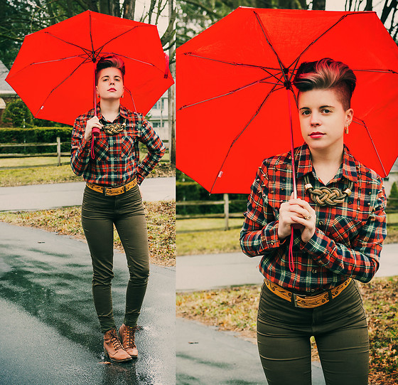 Carolyn W - Plaid, Rings & Tings Knotted, Vintage, H&M Olive, The Frye Company Brown - Under a Red Umbrella
