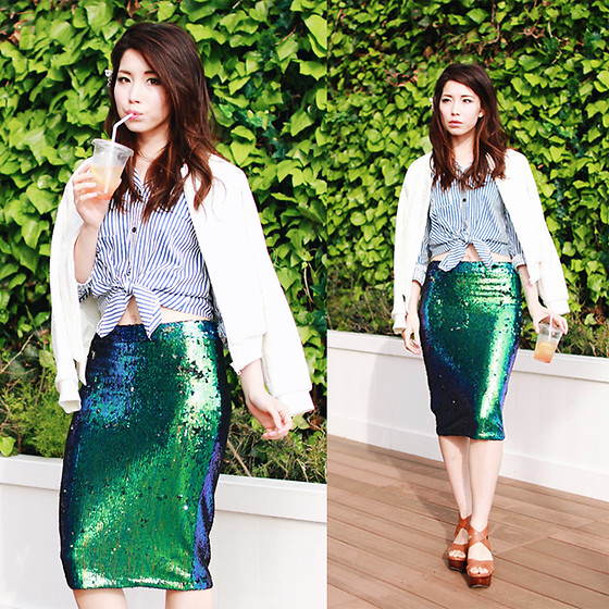 Mizuho K - Sheinside Blue Lapel Vertical Striped Blouse, Choies Green Sequin High Waist Pencil Midi Skirt, Xoxohilamee To See More Details On - 2016/04/09 seaside casual chic