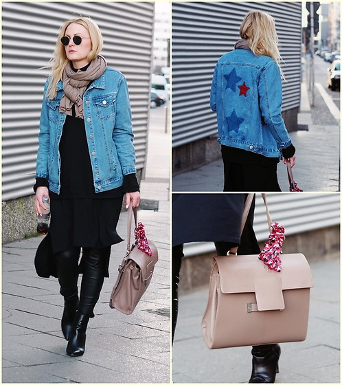 Laenoky - Glamorous Denim Jacket, Adax Bags Back/Backpack, Nine West Booties, Ray Ban Sunglasses - JEAN QUEEN - THE DENIM UPGRADE