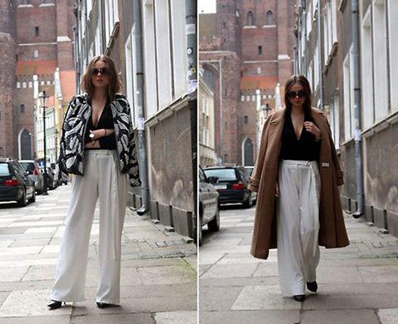 Joanna Vi - Mohito White Pants, H&M Black Blouse, Second Hand Camel Coat, Sis Fashion Black Heels, Bestseller Sequins Jacket - Come back.