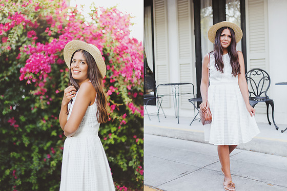 Nydia Enid - Maggy London Eyelet White Dress, Forever 21 Straw Boater Hat - Fit & Flare // White dress ft. Maggy London