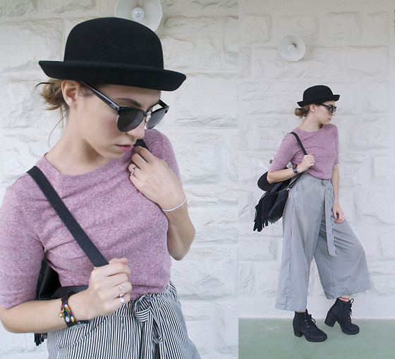 Apollinaria J - H&M Hat, Vans Retro Style Sunglasses, Kmart $5 Top, Zara Stripped Culottes, H&M Fringed Backpack, Kmart Lace Up Boots - Being Simple
