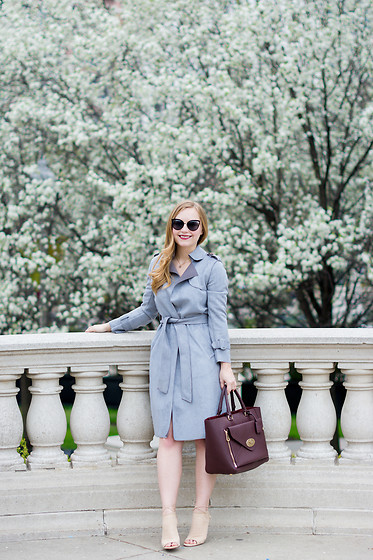 Ashley Hutchinson - Choies Gray Suede Trench Coat, Mulberry Oxblood Willow Tote, Aquazzura Nude Suede Mayfair Booties, Forever 21 Cat Eye Sunglasses - Spring Blooms