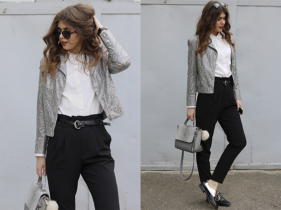 Diana Ior - Forever 21 Jacket, Vero Moda Shirt, Only Trousers, Stradivarius Oxford Flats, Mango Sunnies - Back To Snake Print