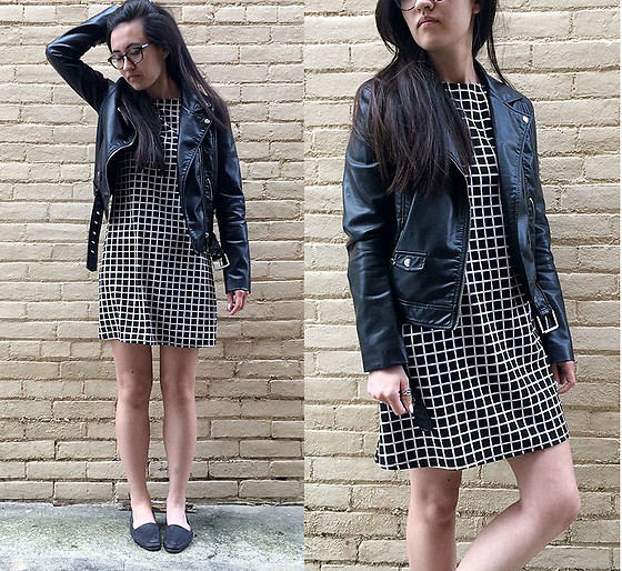 Sheila - H&M Leather Jacket, T.J. Maxx Grid Print Dress - Leather Jacket
