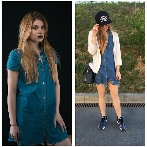 Sophia Miller - Nike Air Max Siren, Guess Bag, H&M Hat, Zara Denim Shirt Dress, Zara Cardigan - Casual Denim