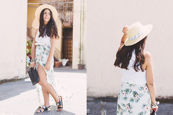 Nydia Enid - Forever 21 Boater Straw Hat, Forever 21 Floral Maxi Skirt, Asos Embellised Sandals - Tropical skirt