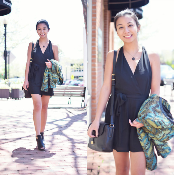 Melanie P. - Express Halter Romper, Marc By Jacobs Mini Messenger Bag, Clarks Ankle Boots - Wearing the Classic Romper