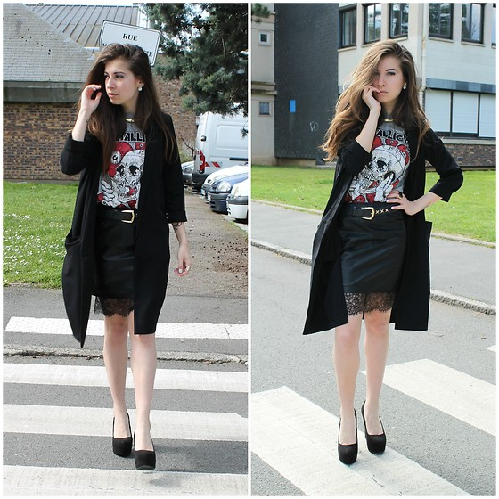 Elo' Cupcake - H&M Metallica Shirt, H&M Leather And Lace Skirt, H&M Long Vest, H&M Platform Heels - Rock n' roll babe