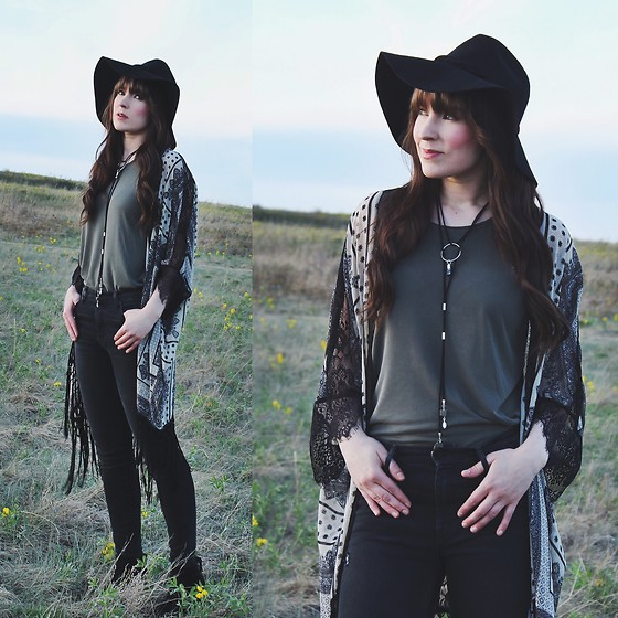 Jocelyn Jacobson - Innerwolf Jewelry Bolo Leather Choker, Free People Extended Brim - Faint of Heart