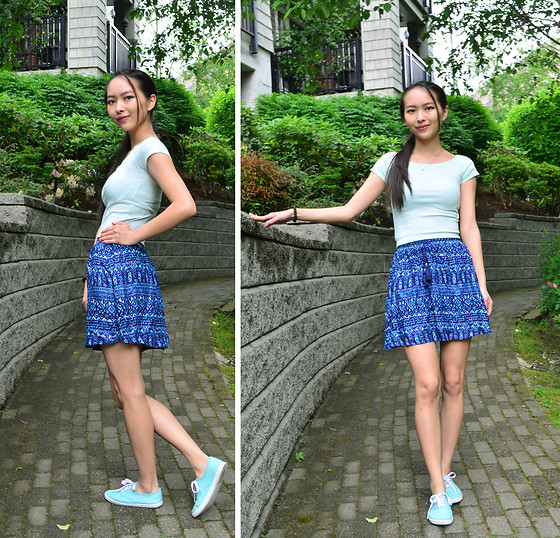 Julie Tao - Divided Light Sea Foam Green Crop Top, Divided Blue Tribal Print Skirt, Ardene Size 2 Kids Mint Green Canvas Shoes - Riverbed