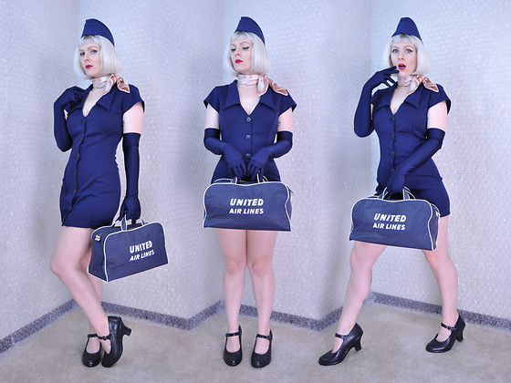 Suzi West - United States Air Force Garrison Cap, Sally Ann Scarf, Depop Mini Shirt Dress, Holly Gordon's Pro Wardrobe Evening Gloves, United Airlines Vintage Flight Bag, Born Concepts Heeled Mary Janes - 29 April 2016