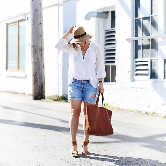 Alexandra G. - Gap Denim Cut Off Shorts, Joie Suede Heels, Madewell Leather Tote - Cut-Off