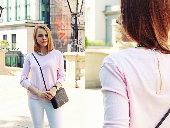 Marta S. - Zara Pink Sweater, White Pants, Bonprix Black Bag, Daniel Wellington Watch, Crystal Necklace - PASTELE