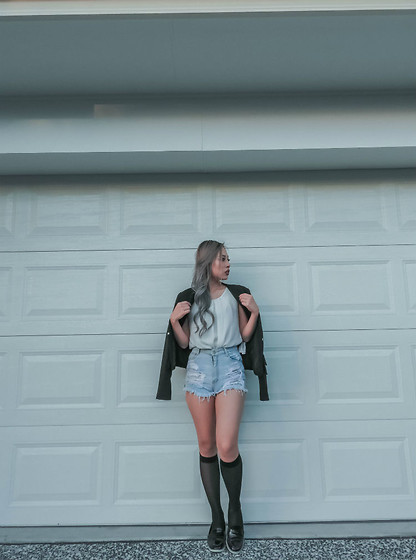 KTran - Therapy Banks Loafers, Lexmila Denim Shorts, Valleygirl Halter Top, H&M Blazer - Summer with a hint of Fall