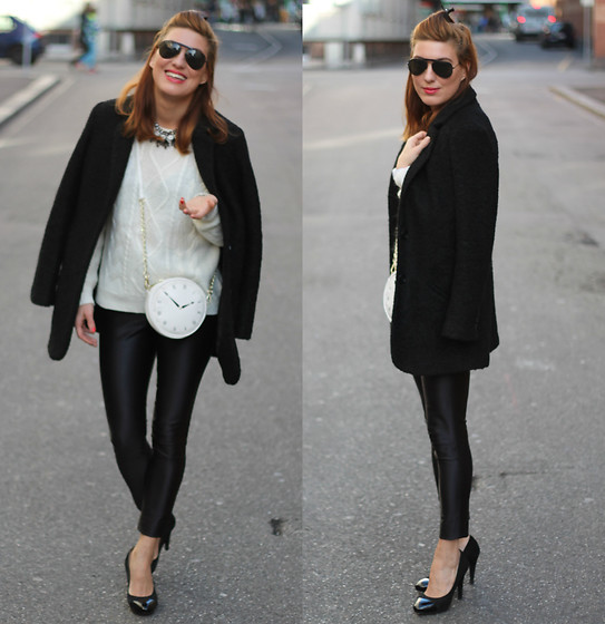 Lea Zeitman - C&A Jacket, Bshou Necklace, H&M Sweater, C&A Bag, American Apparel Pants, Navyboot Pumps - TICK TACK LOOK