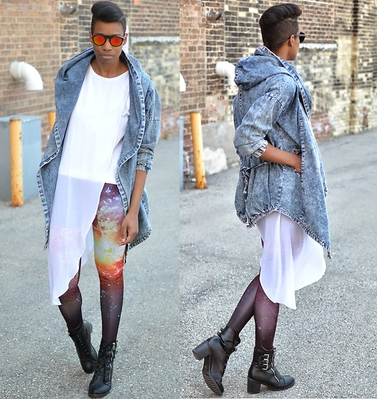 Sushanna M. - Zerouv Red Orange Reflective Sunglasses, Denim Cape Coat, Thrifted White Dress With Sheer Asymmetrical Overlay, Romwe Galaxy Leggings, Black Buckled Zippered Ankle Boots - Cosmic Perspective