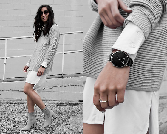 Kristina - Hello Molly Knit, The Great Beyond Organic Shirtdress, Public Desire Grey Summer Boots, Threadetiquette Black Minimalist Timepiece, Luna Pyxis Knot Ring - Grey streetstyle