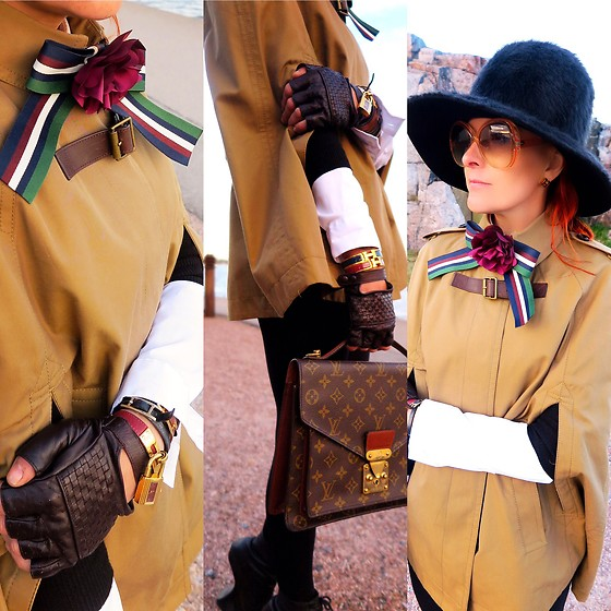 The wardrobe of Ms. B - Burberry Cape, Louis Vuitton Bag, Henri Bendel Gloves, Asos Bow Tie - New post