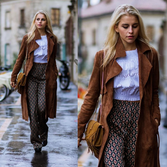 Caro Daur - Pinko Shirt, Zara Pants, Gestuz Coat, Saint Laurent Bag - Browns