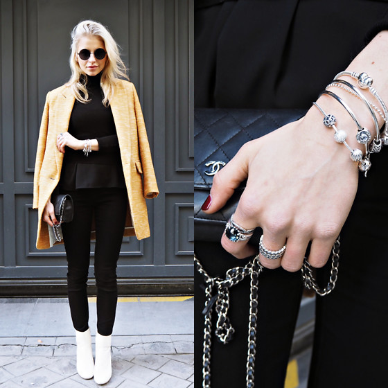 Caro Daur - Isabel Marant Coat, Isabel Marant Shoes, Pandora Jewelry, Chanel Bag - Black and yellow