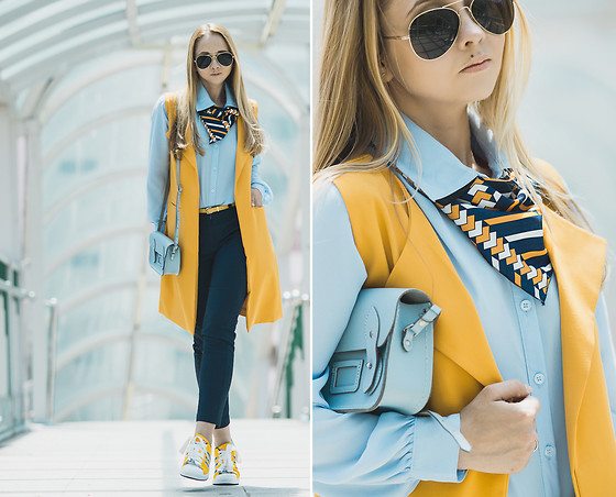 Olga Choi - Adidas Sneakers, Cambridge Satchel Bag, Ted Baker Scarf - Mellow, Yellow