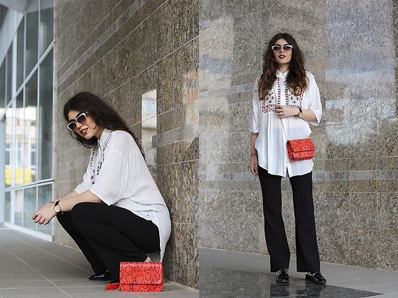 Diana Ior - H&M Flared Pants, Stradivarius Flats, Asos Bag, Marc By Jacobs Watch - Embroidered