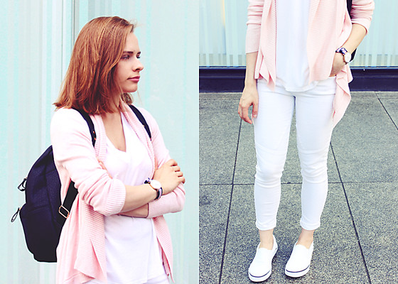 Marta S. - White T Shirt, White Pants, White Slip On Shoes, H&M Pink Cardigan, Daniel Wellington Watch, Sheinside Black Backpack - WHITE & PINK & BLACK