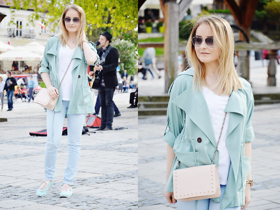 Sispolitan Lach - Sheinside Trench Coat, Promod T Shirt, Mohito Bag, Michael Kors Watch, Chanel Sunglasses, Stradivarius Pants, Adidas Sneakers - Mint & blue combo