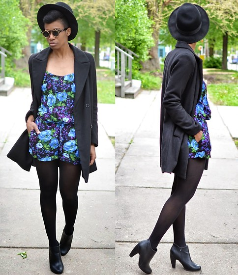 Sushanna M. - Thrifted Black Fedora, Zerouv Gold Gilded Retro Flip Sunglasses, Black Double Breasted Coat, Https://Www.Etsy.Com/Listing/293896463/Vintage Blue Purple Black Romper Size Vintage Floral Romper - Mourning Glory