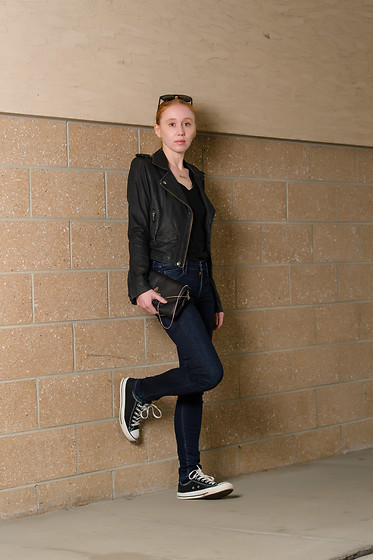 Jacqueline Rose - James Perse V Neck, Iro Leather, Citizens Of Humanity Skinny, Converse Low Top, Hue No Show - Leather Jacket and Converse