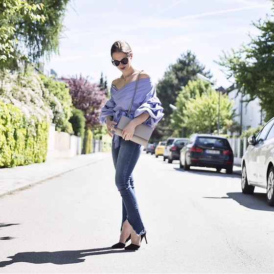 Ina Nuvo - Storets Flared Jeans, Storets Off Shoulder, H&M Bag, Hallhuber Pumps - Flared & Off-Shoulder