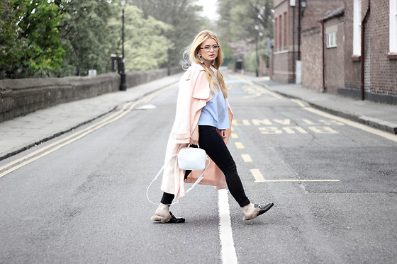 Andra Vaida - H&M Blouse, Aliexpress Faux Fur Loafers, Asos Pink Duster Trench Coat - Children of the World