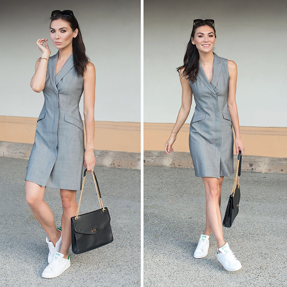 Tienlyn . - Tuxedo Dress, Adidas Stan Smith Sneakers, Alexa Bag - THE TUXEDO DRESS