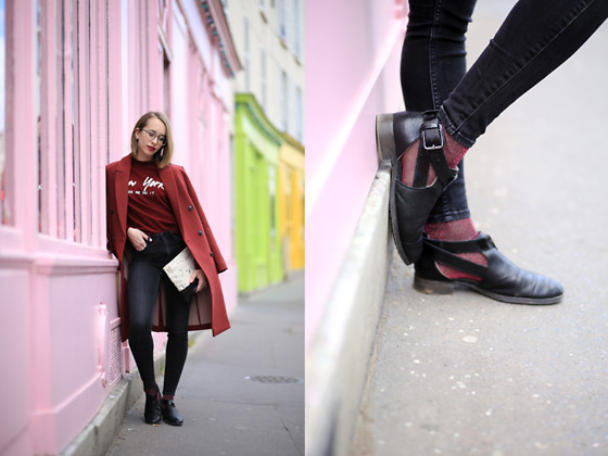 Giseleisnerdy L - Asos Coat, Monki Slim, Forever21 Hoodies, Clarks Shoes, Asos Socks, Elipsis Clutch - Giseleisnerdy.fr - New york
