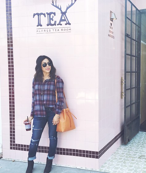 Tiffany - Brandy Melville Usa Flannel, Nordstrom Booties, Mansur Gavriel Bucket Bag - New Kid on the Block