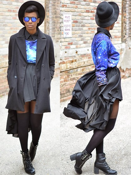 Sushanna M. - Zerouv Blue Sunglasses, Black Double Breasted Coat, Pleated Highwaisted Black High Low Skirt, Black Buckled Zippered Ankle Boots - Dark Side Of The Moon