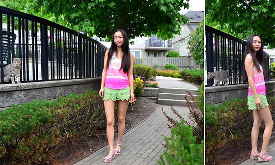 Julie Tao - Parisian Light Green Tinkerbell Esque Lace Shorts, Joe Fresh Wedge Sandals, Pink Floral, Ardene Racerback Tank - Ponder